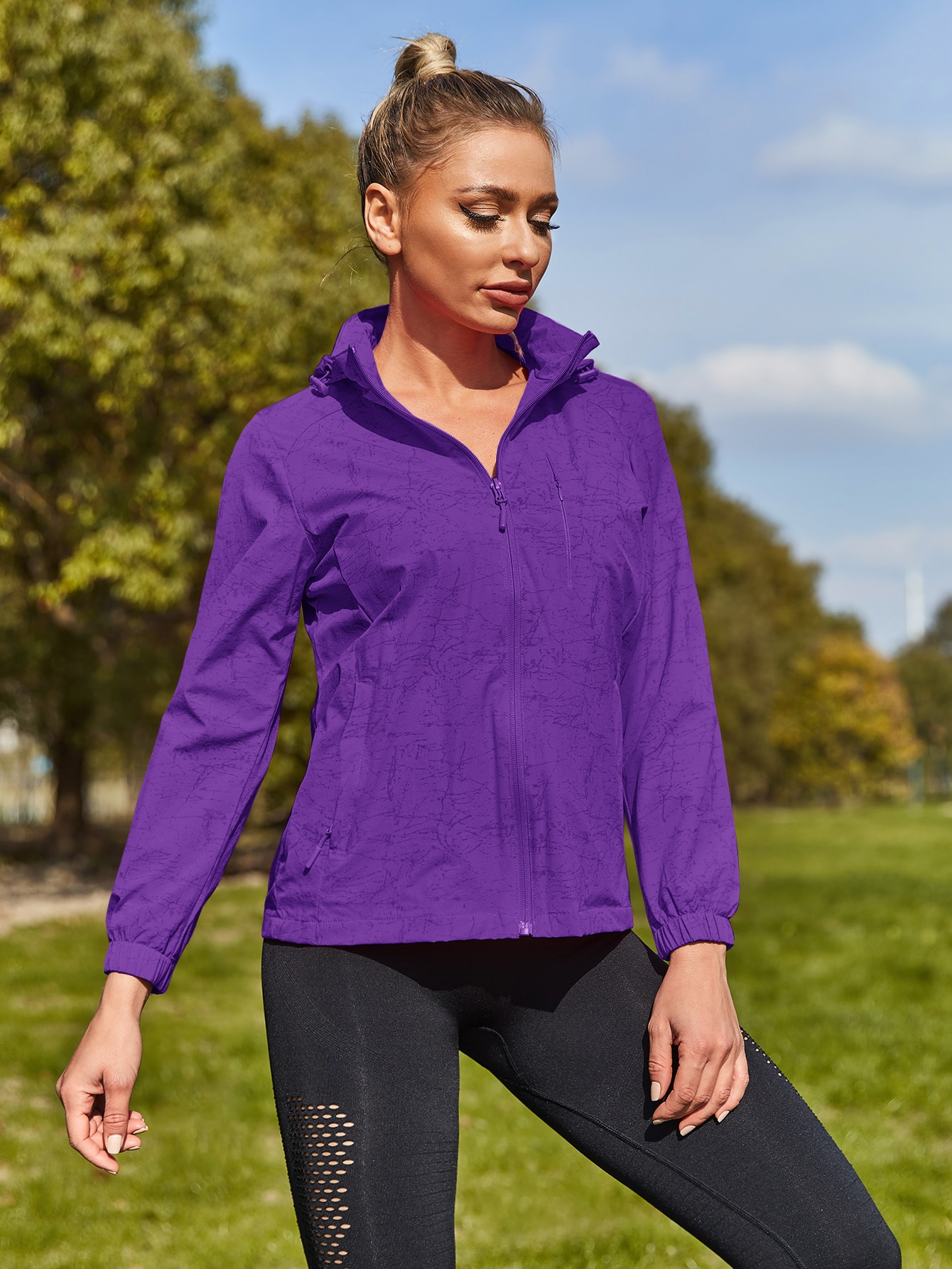 zip up hooded sports jacket