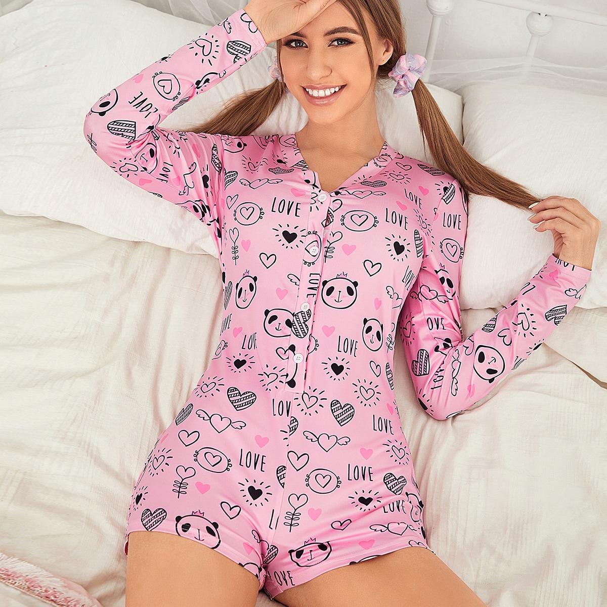Комбинезон-пижама с текстовым и мультипликационным принтом