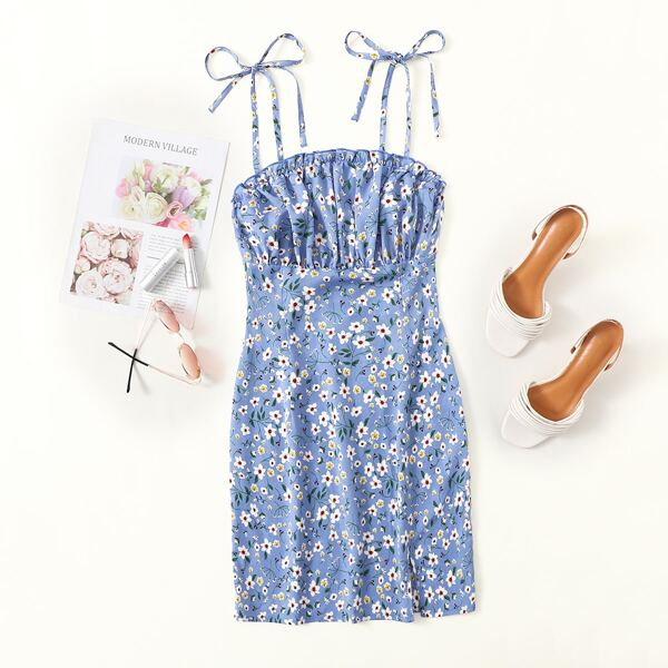 Knot Strap Ruched Bust Split Hem Floral Slip Dress, Multicolor