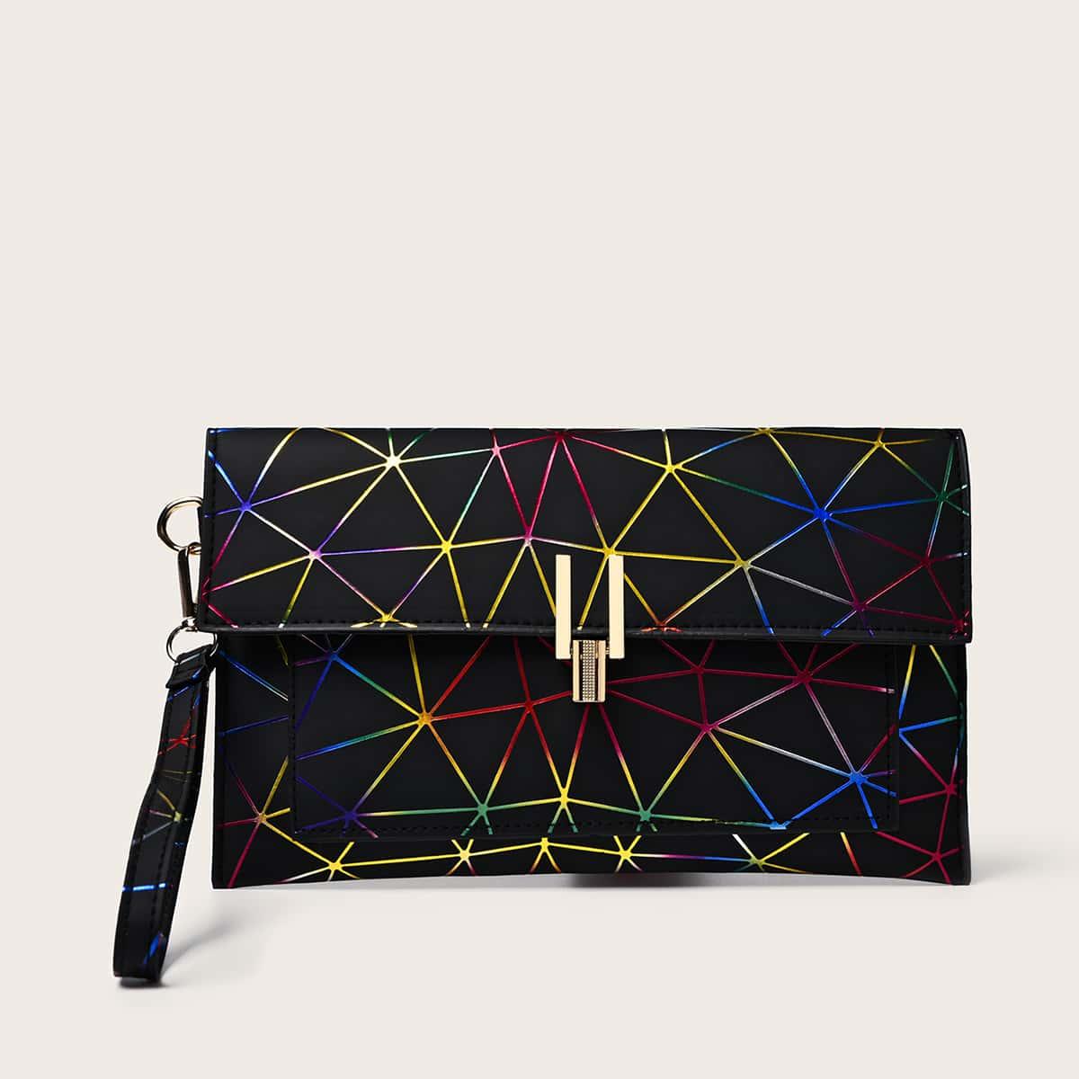 shein Clutch met geometrisch patroon en polsband