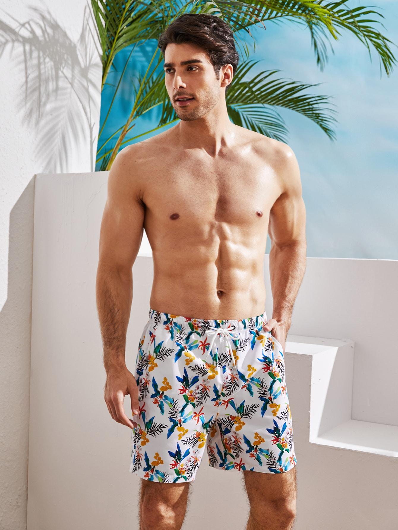 men tropical print drawstring waist swim trunks