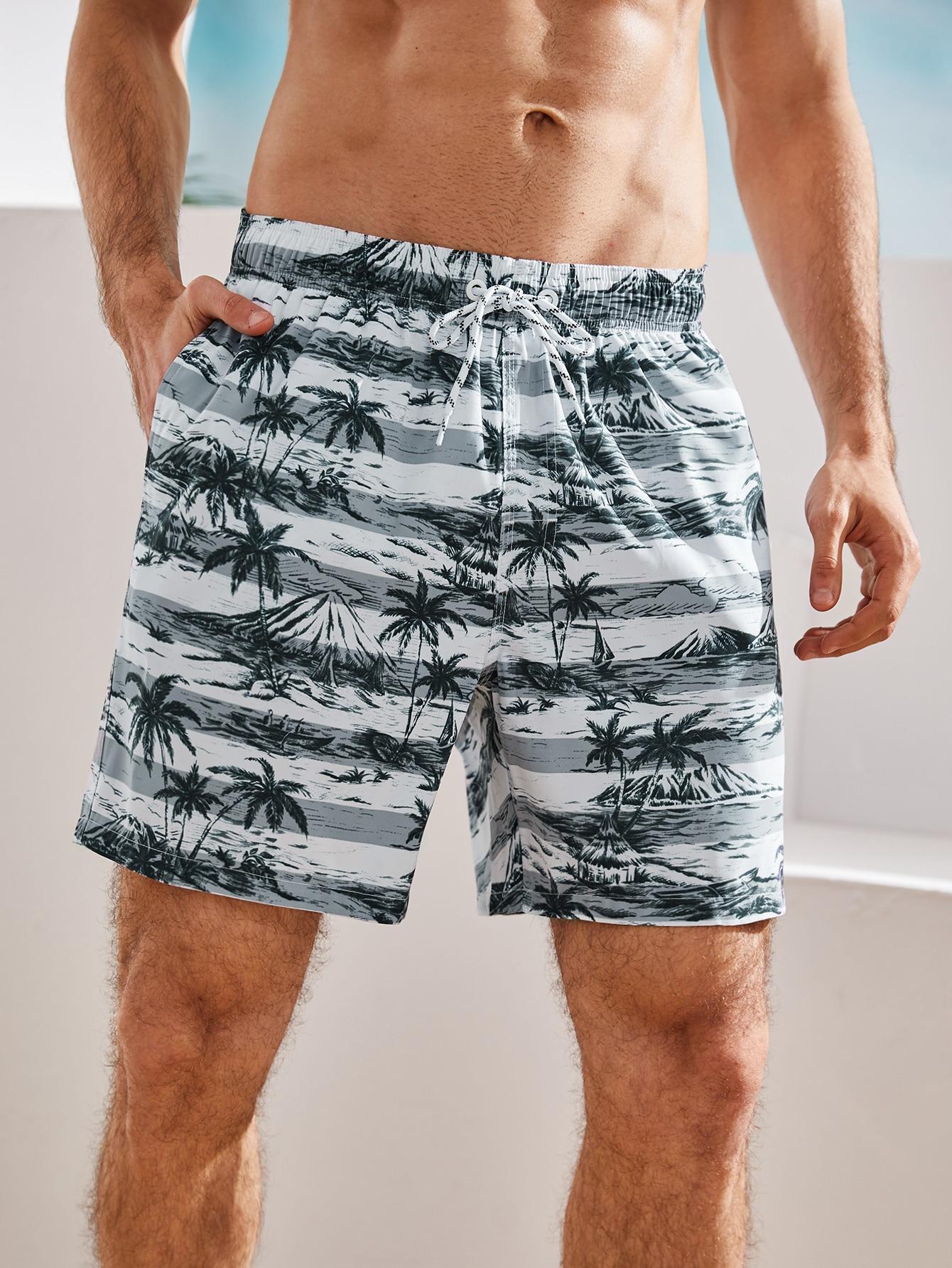 men landscape print drawstring waist swim trunks
