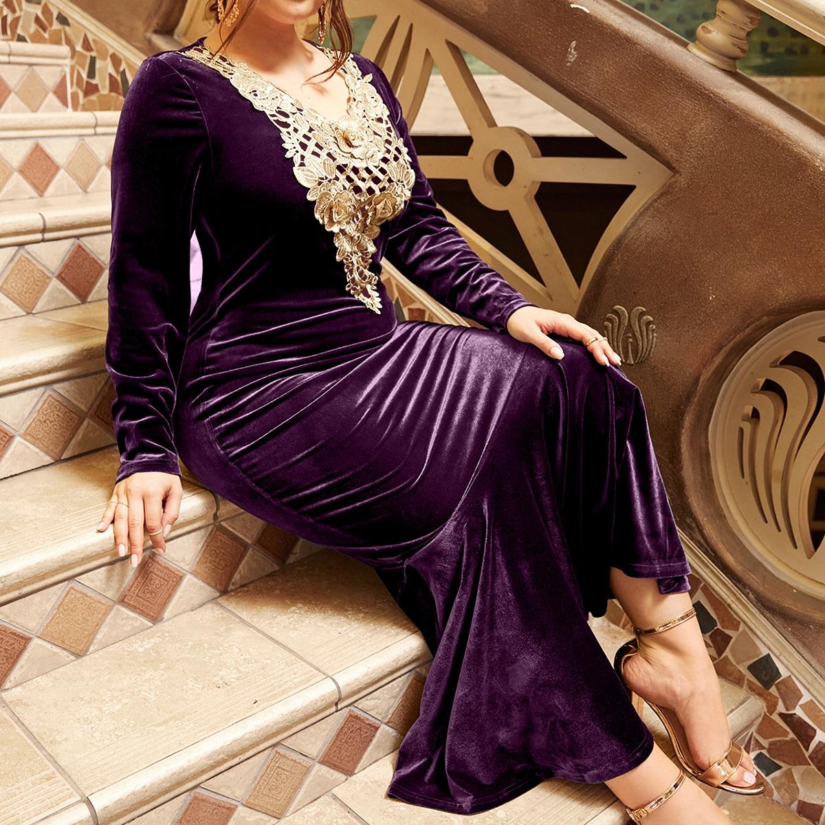 Бархатное платье-русалка размера плюс с цветочной вышивкой