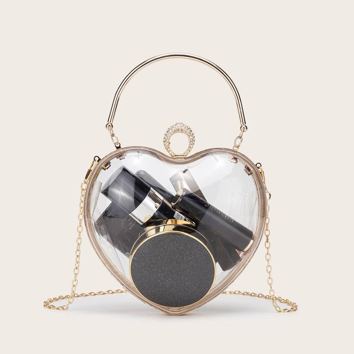 shein Hartvormige clutch met transparante strass-versiering
