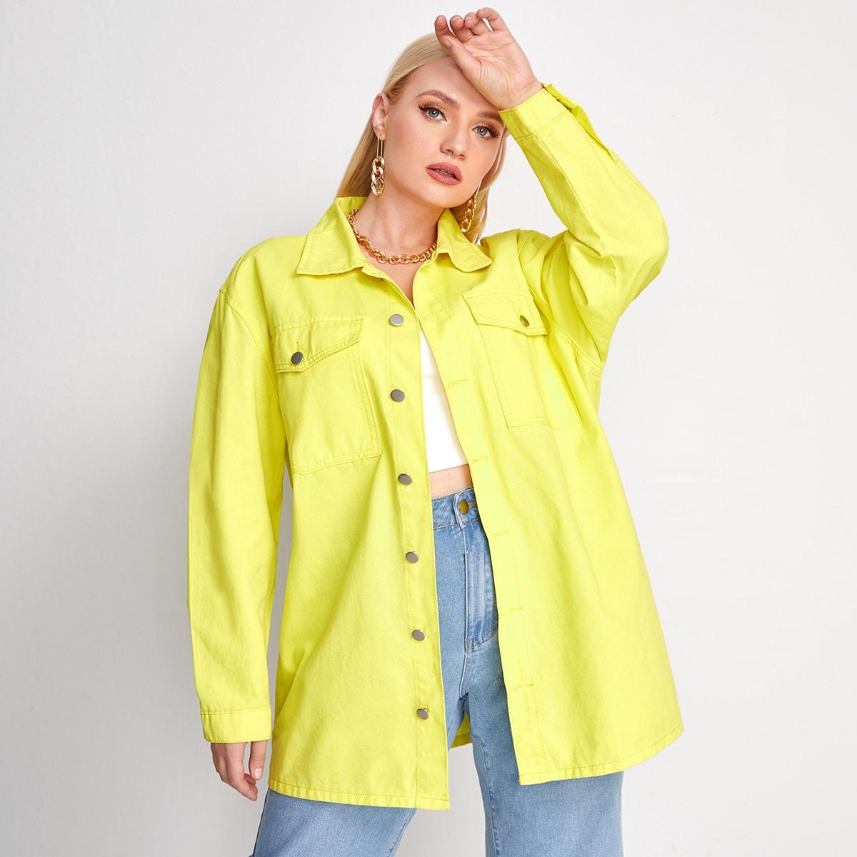 Неоново-желтая джинсовая куртка размера плюс с карманом