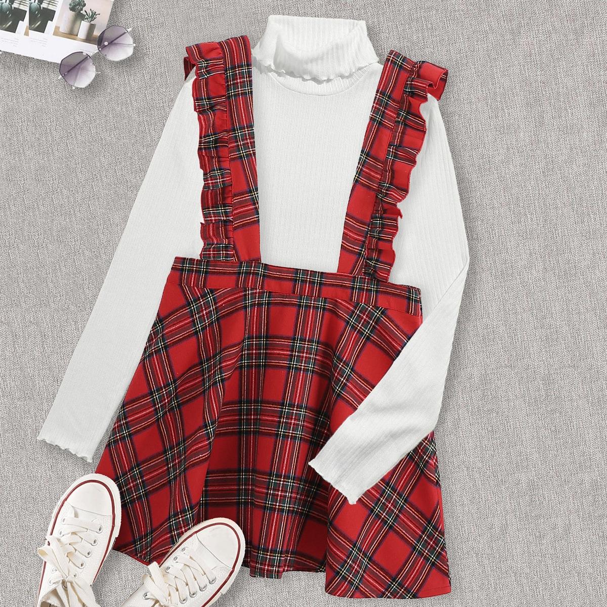 Платье в клетку с оборками размера плюс без футболки