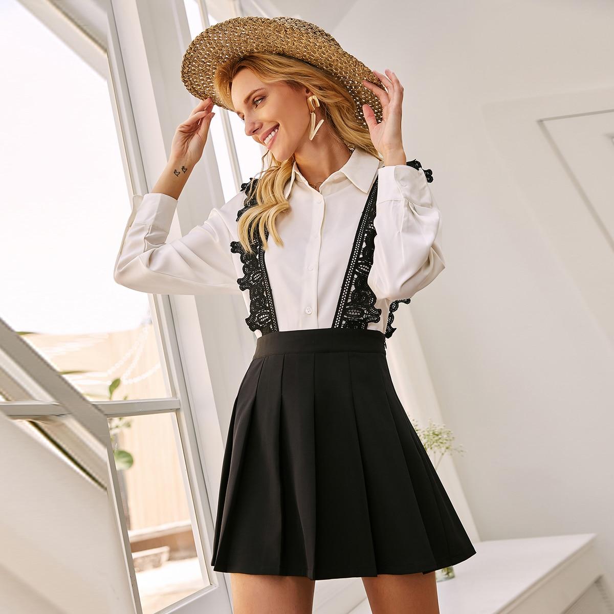 Плиссированная юбка с кружевной вставкой
