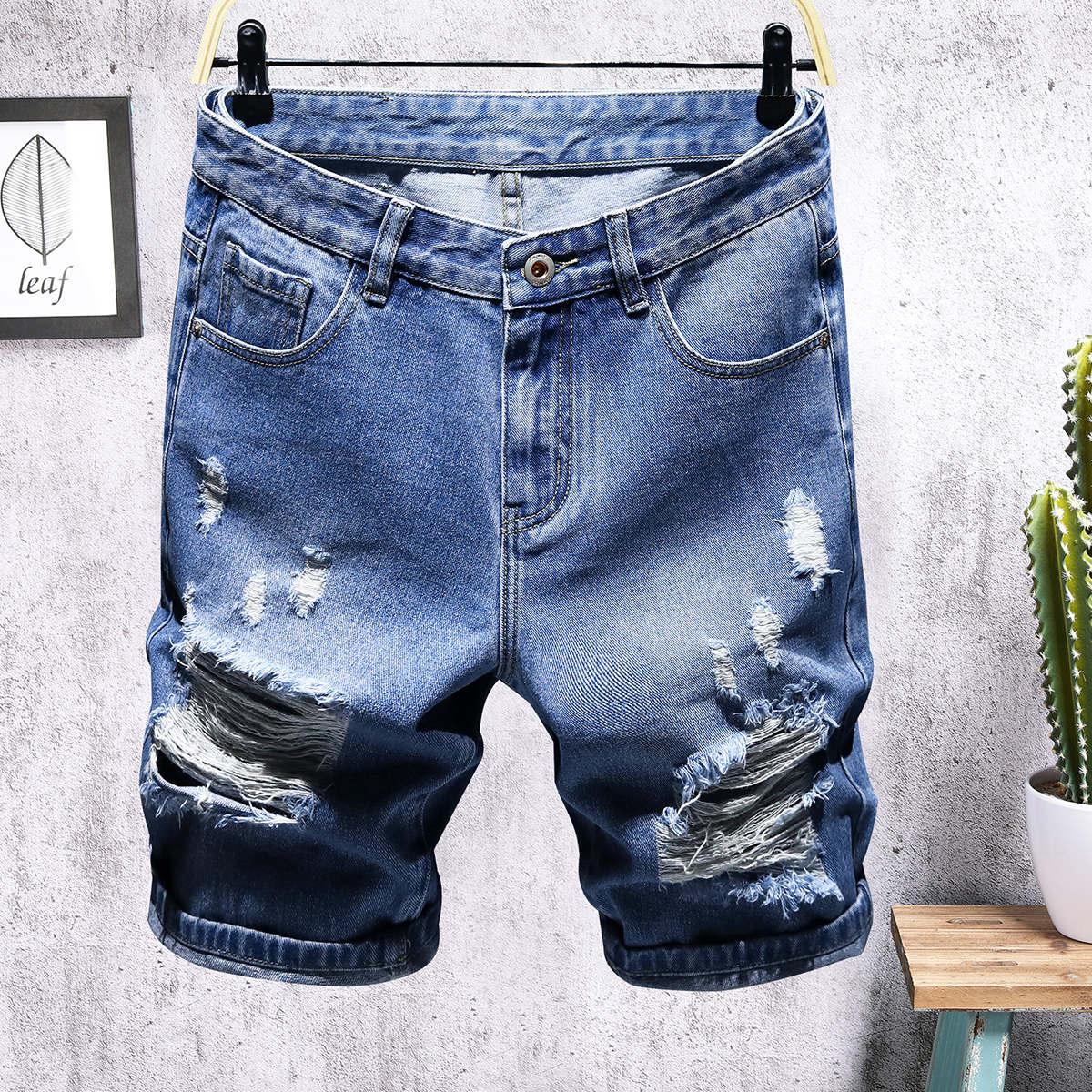 Мужские рваные джинсовые шорты с карманом