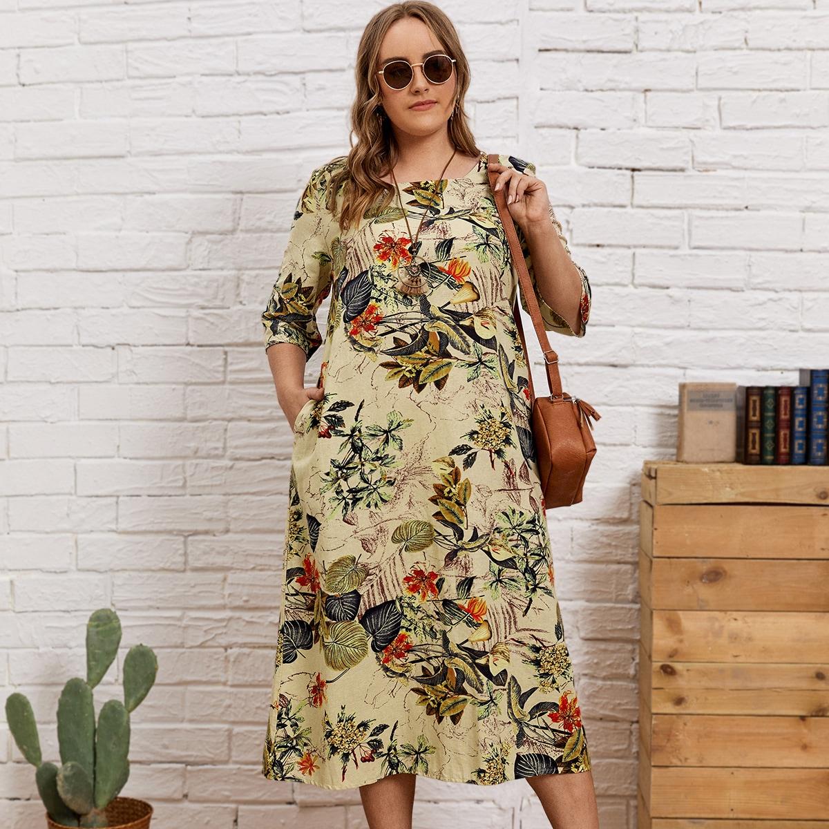 Платье размера плюс с графическим принтом и карманом