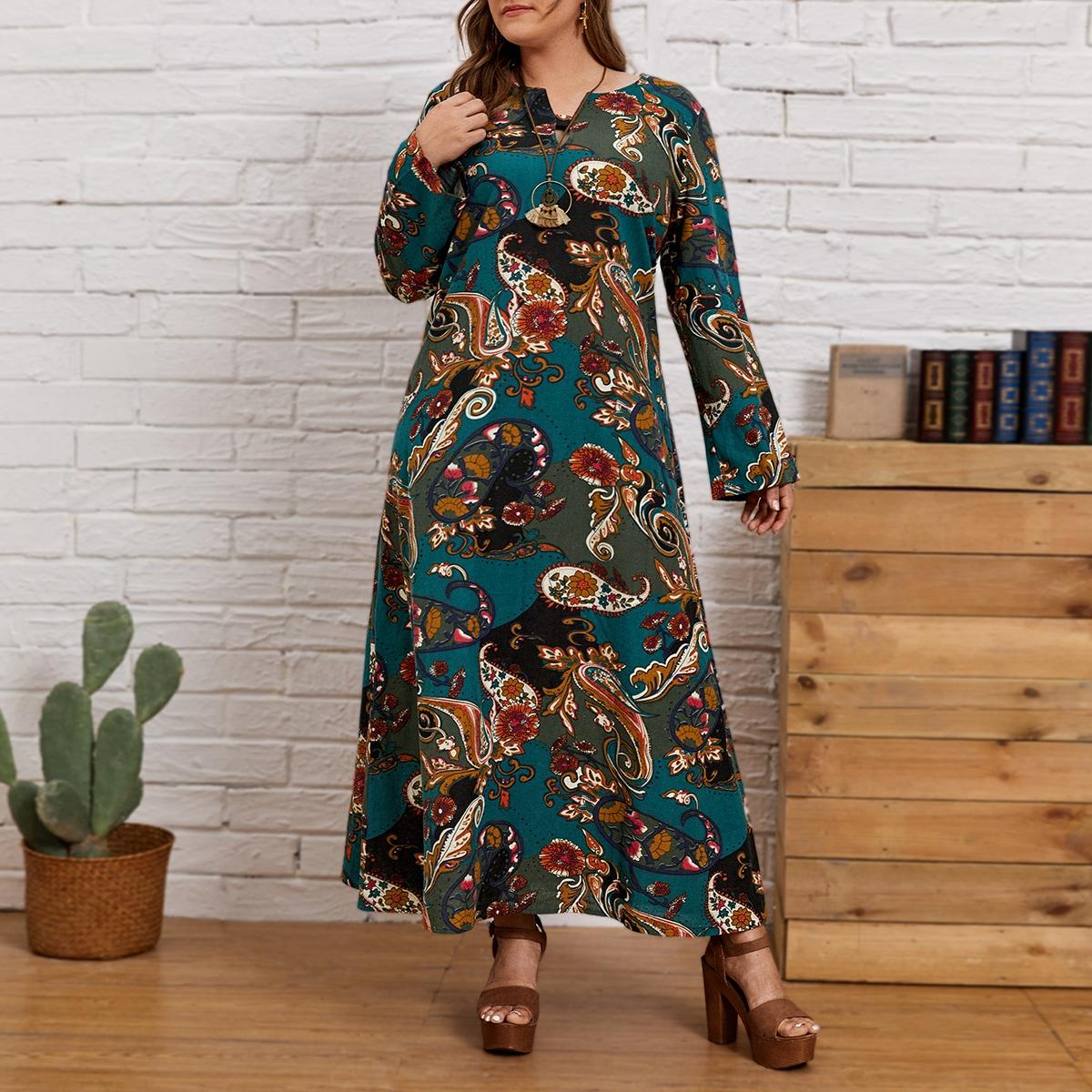 Платье размера плюс с принтом пейсли
