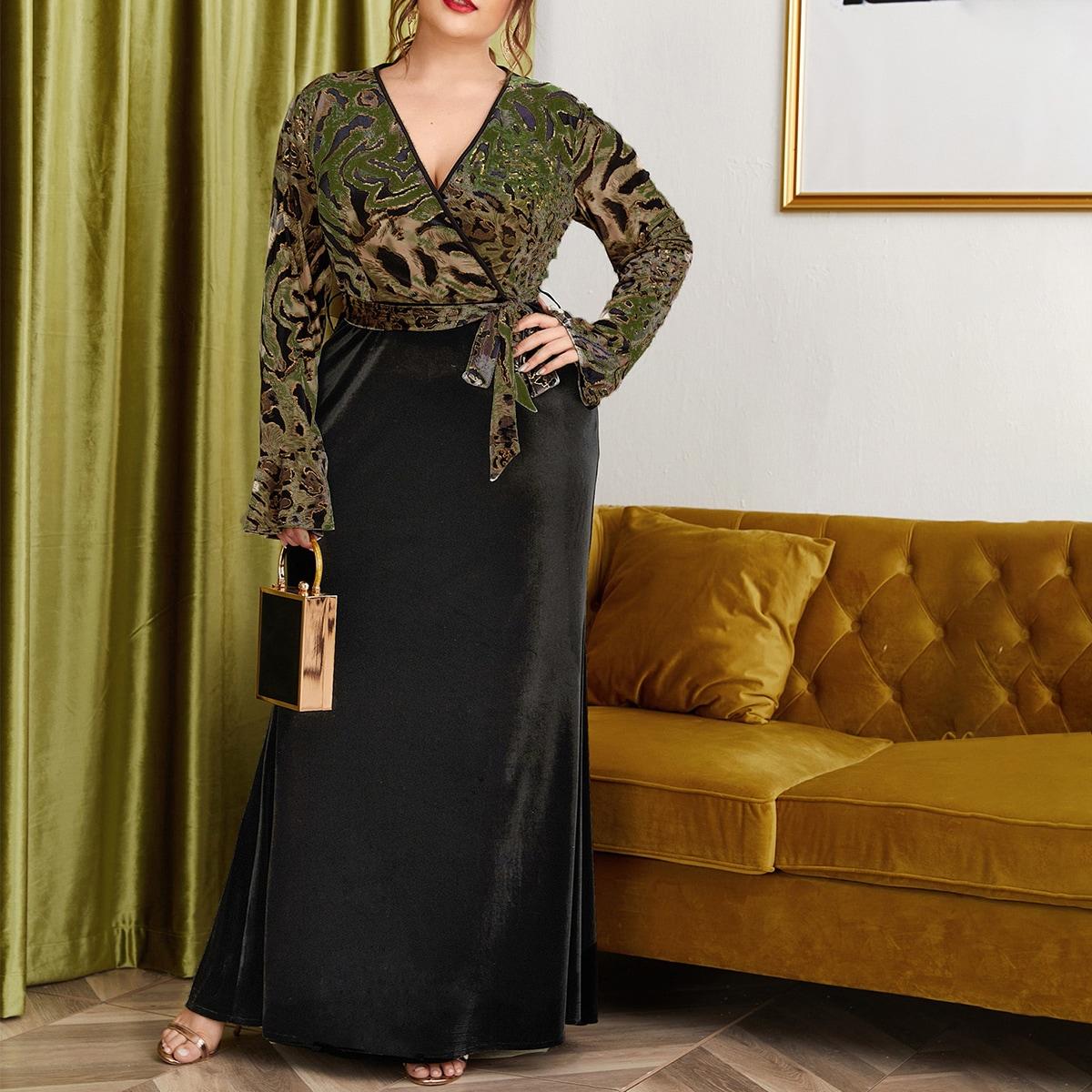 Бархатное платье размера плюс с леопардовым принтом и поясом