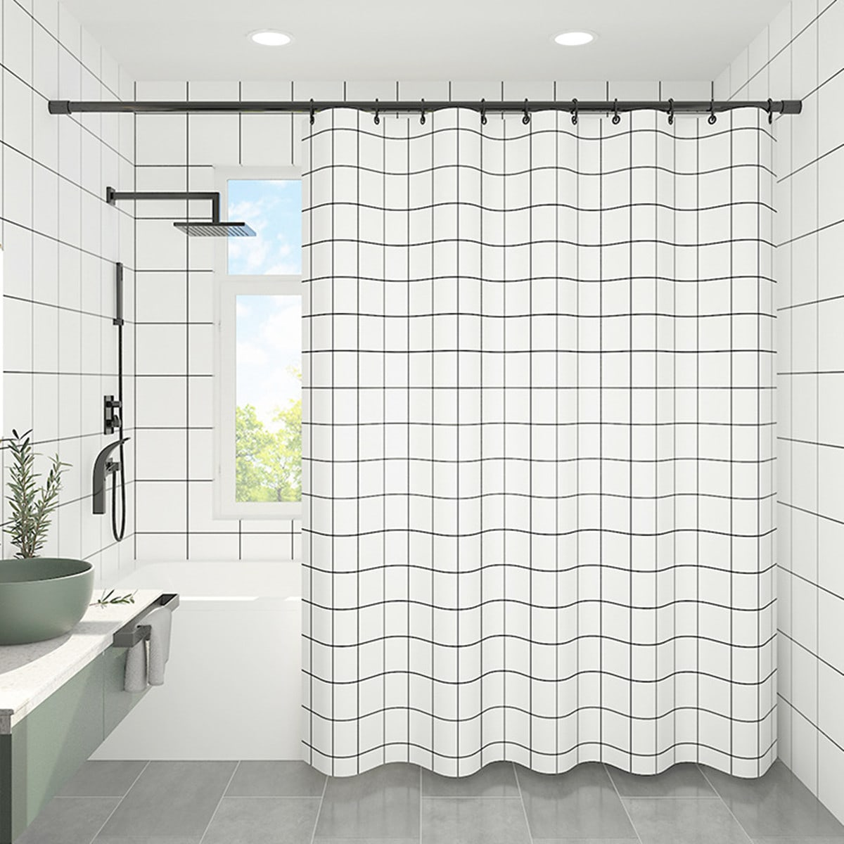 Plaid Pattern Shower Curtain