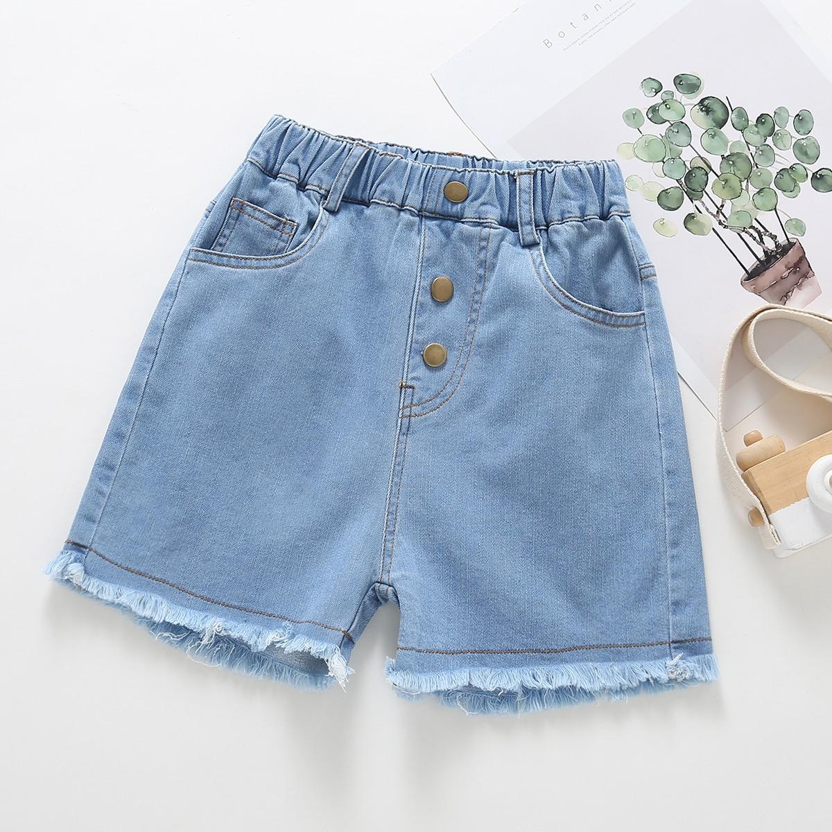 Girls Button Front Raw Hem Denim Shorts