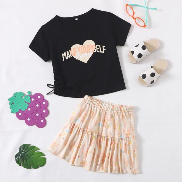 Toddler Girls Slogan & Heart Print Tee & Ruffle Hem Skirt, Multicolor