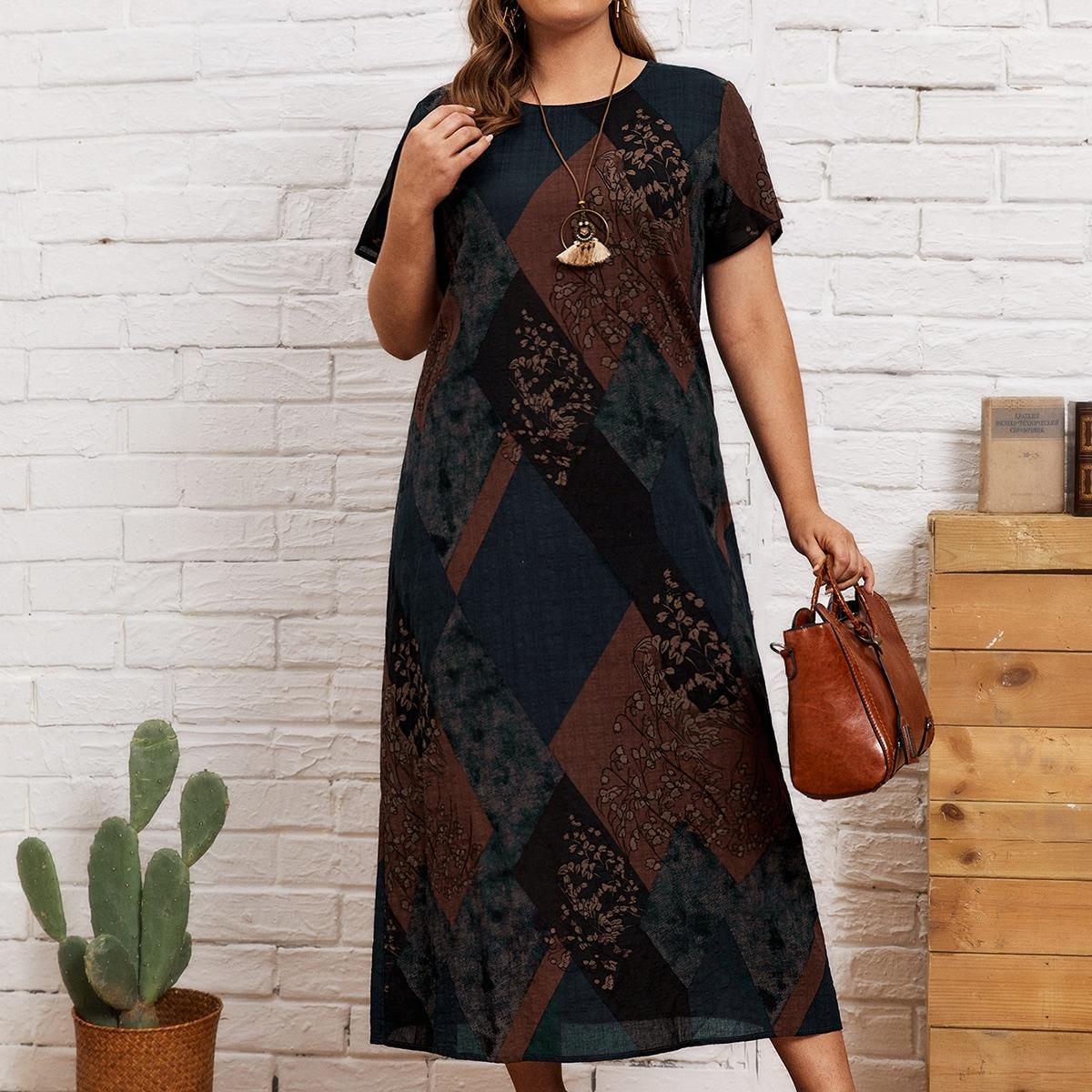 Контрастное платье размера плюс с графическим принтом