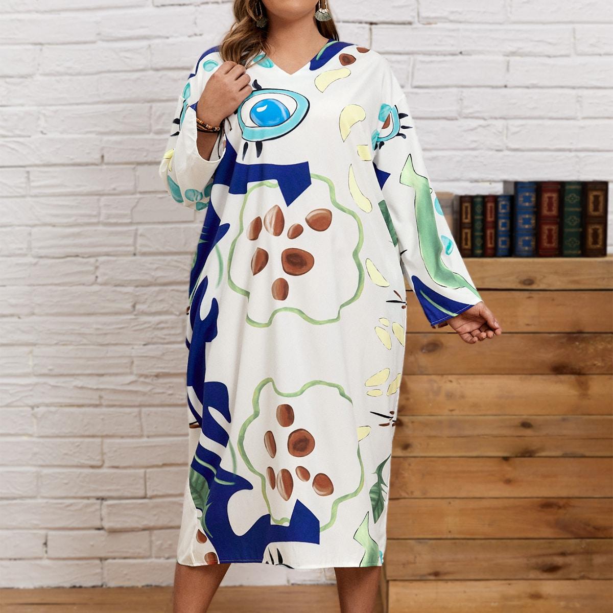 Платье размера плюс с v-образным воротником и мультипликационным принтом по цене 990