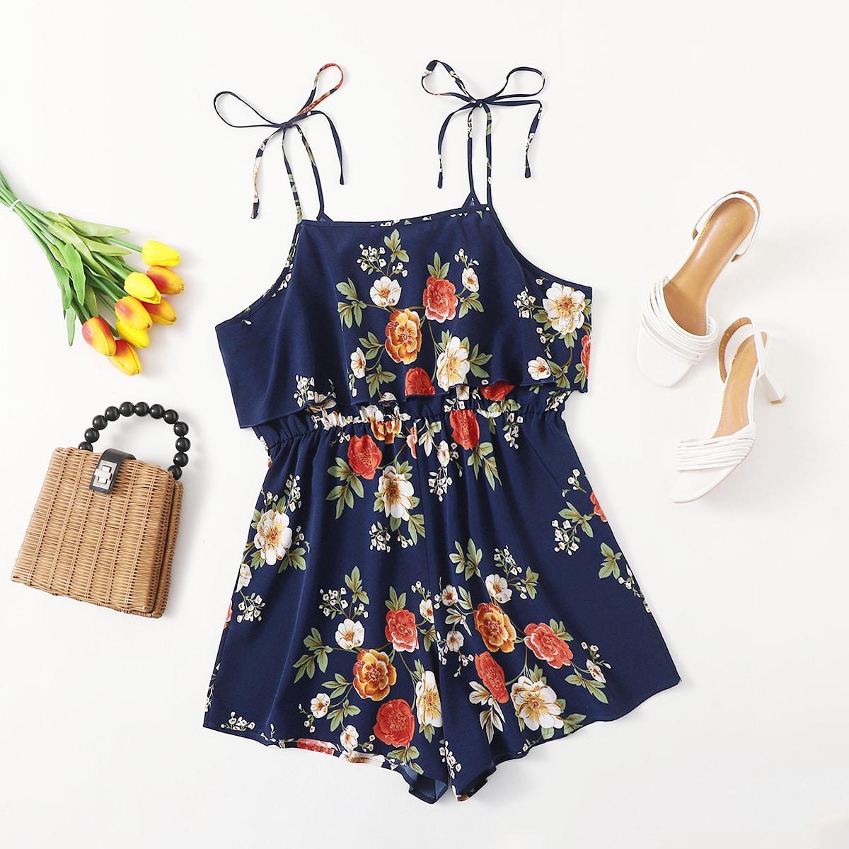 Cami Jumpsuit mit Blumen Muster und Knoten auf Schultern