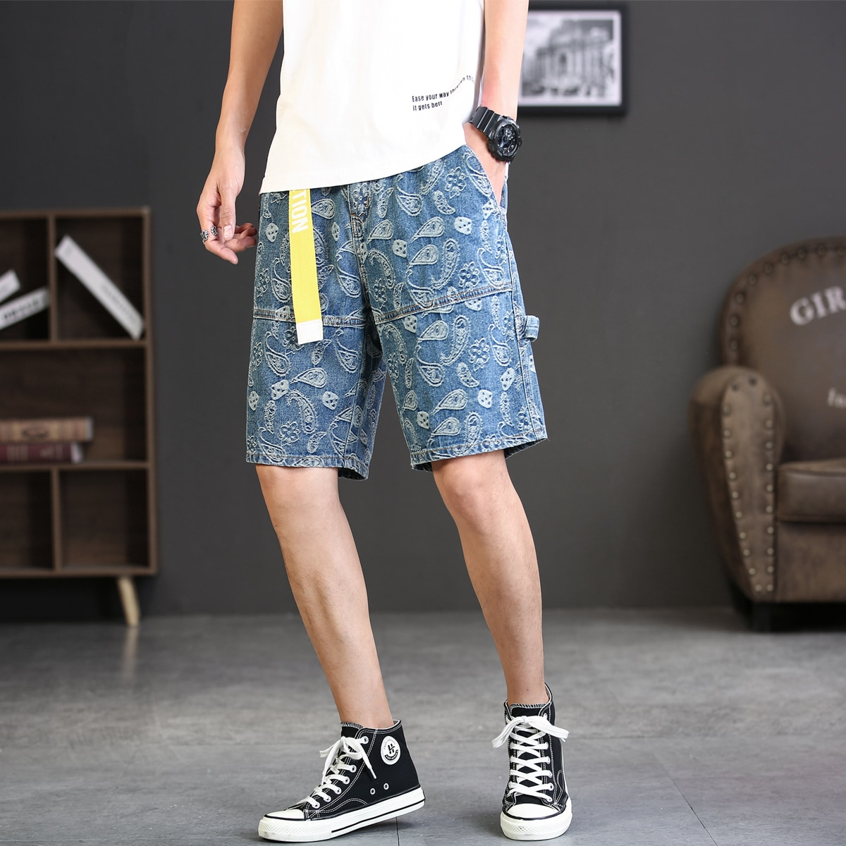 Пейсли Мужские джинсовые шорты
