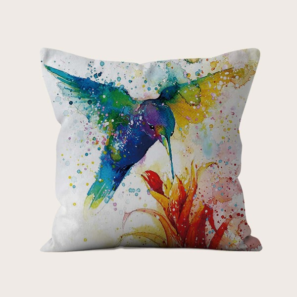 Hummingbird Print Cushion Cover Without Filler, Multicolor