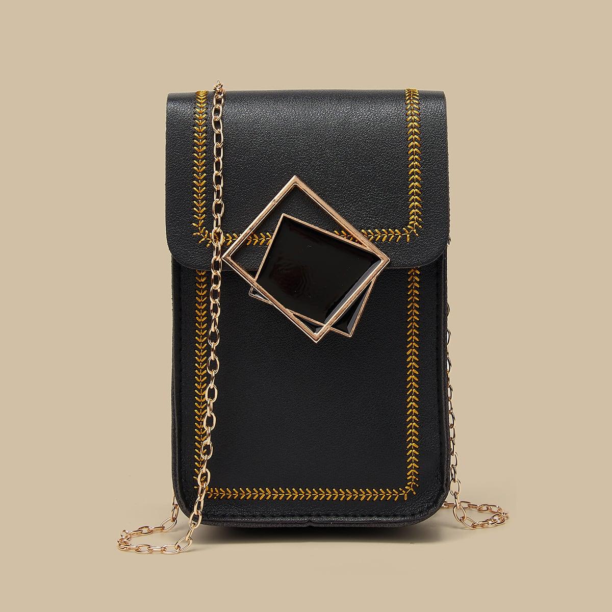 Geometric Decor Stitch Trim Flap Chain Bag