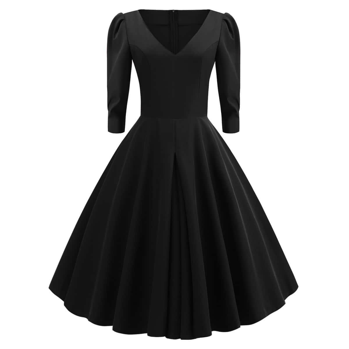 Расклешенное платье размера плюс с пышными рукавами
