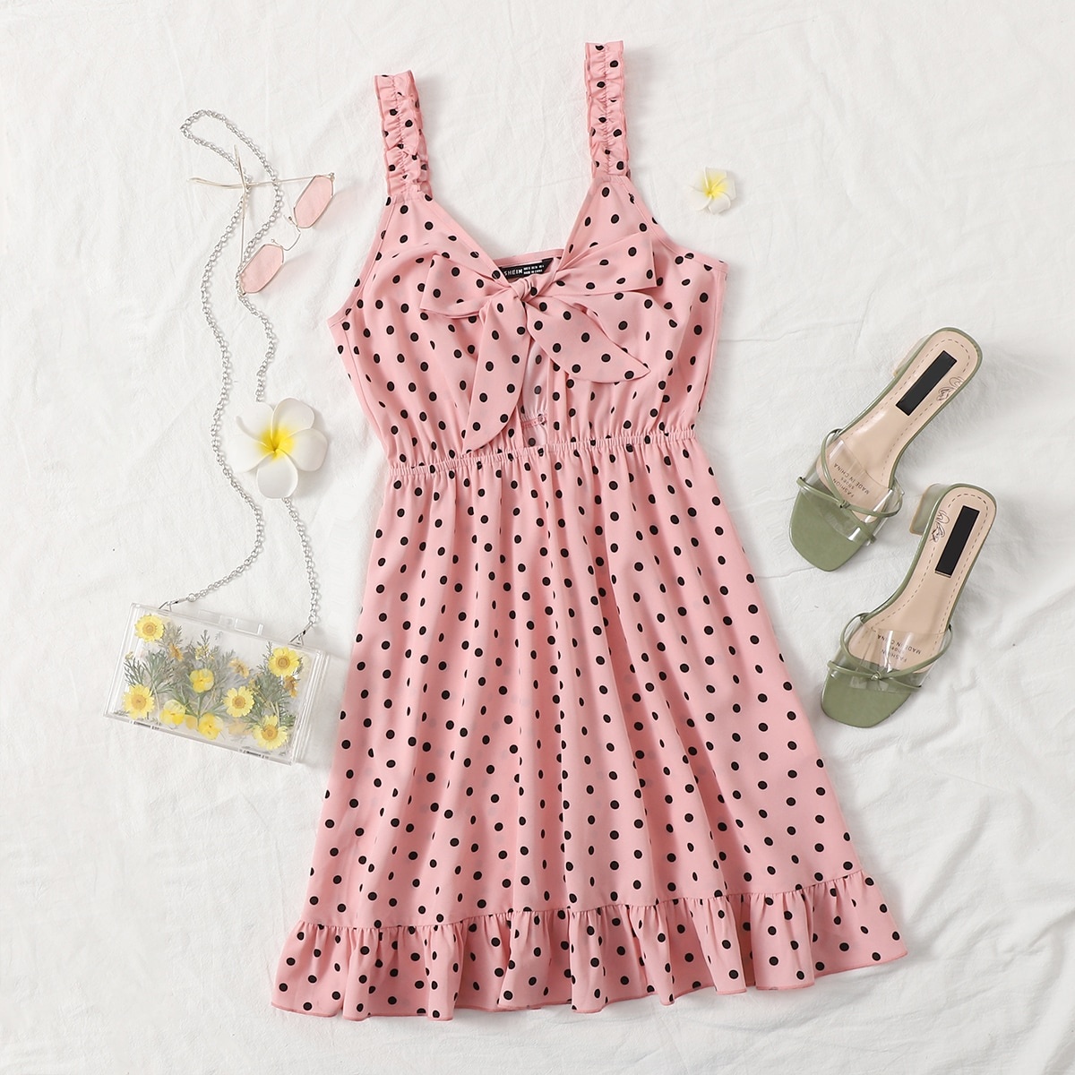Polka Dot Tie Front Ruffle Hem Cami Dress, SHEIN  - buy with discount