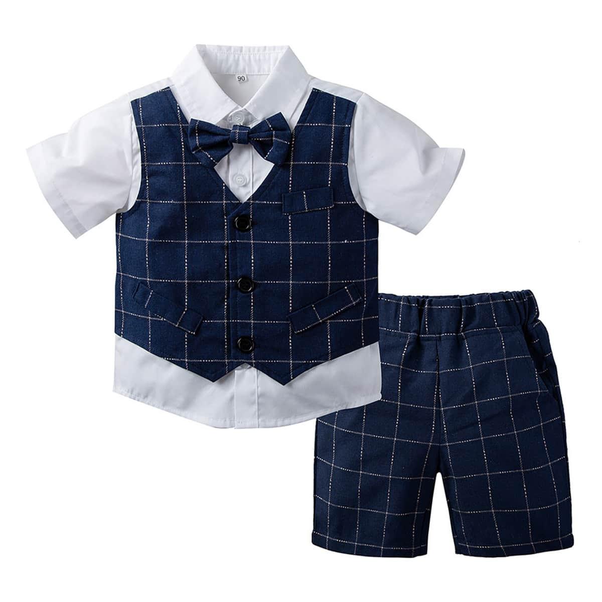 Контрастная рубашка и шорты в клетку для мальчиков