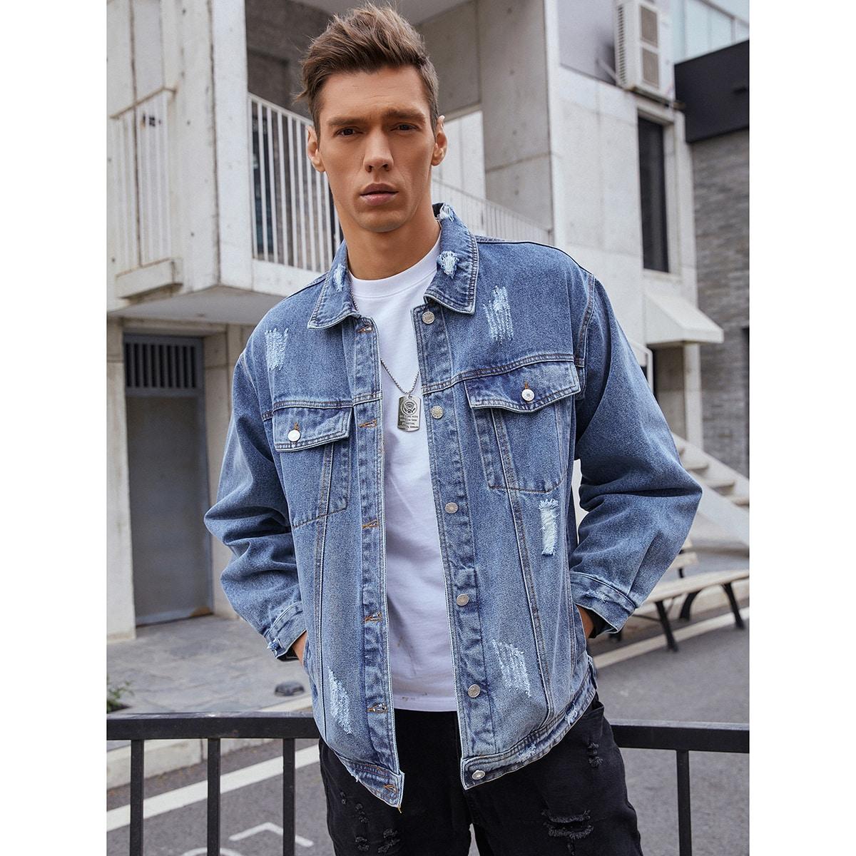 с карманами Одноцветный Мужские джинсовые куртки по цене 3 550