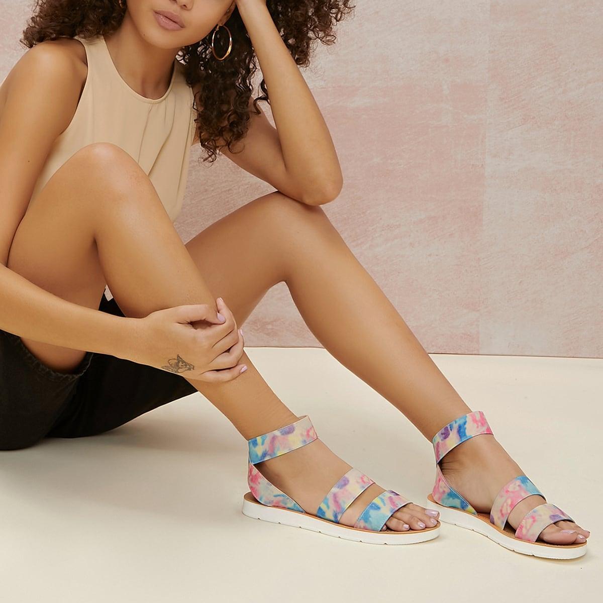 SHEIN / Tie-Dye Wash Ankle Strap Footbed Sandals