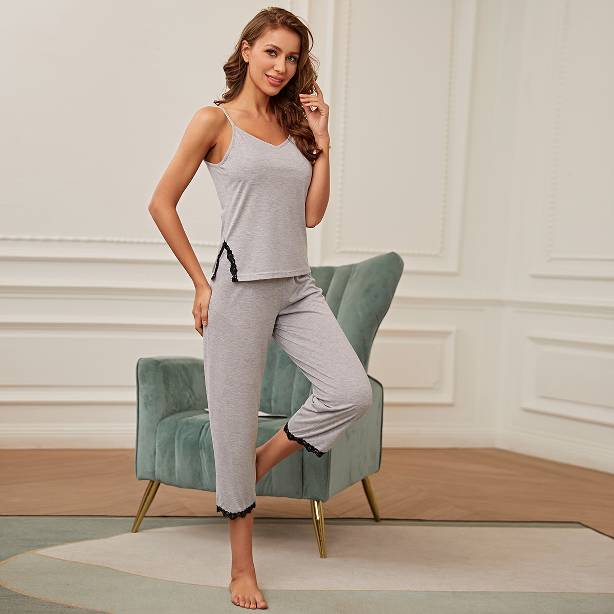 SHEIN / Contrast Lace Split Pajama Set