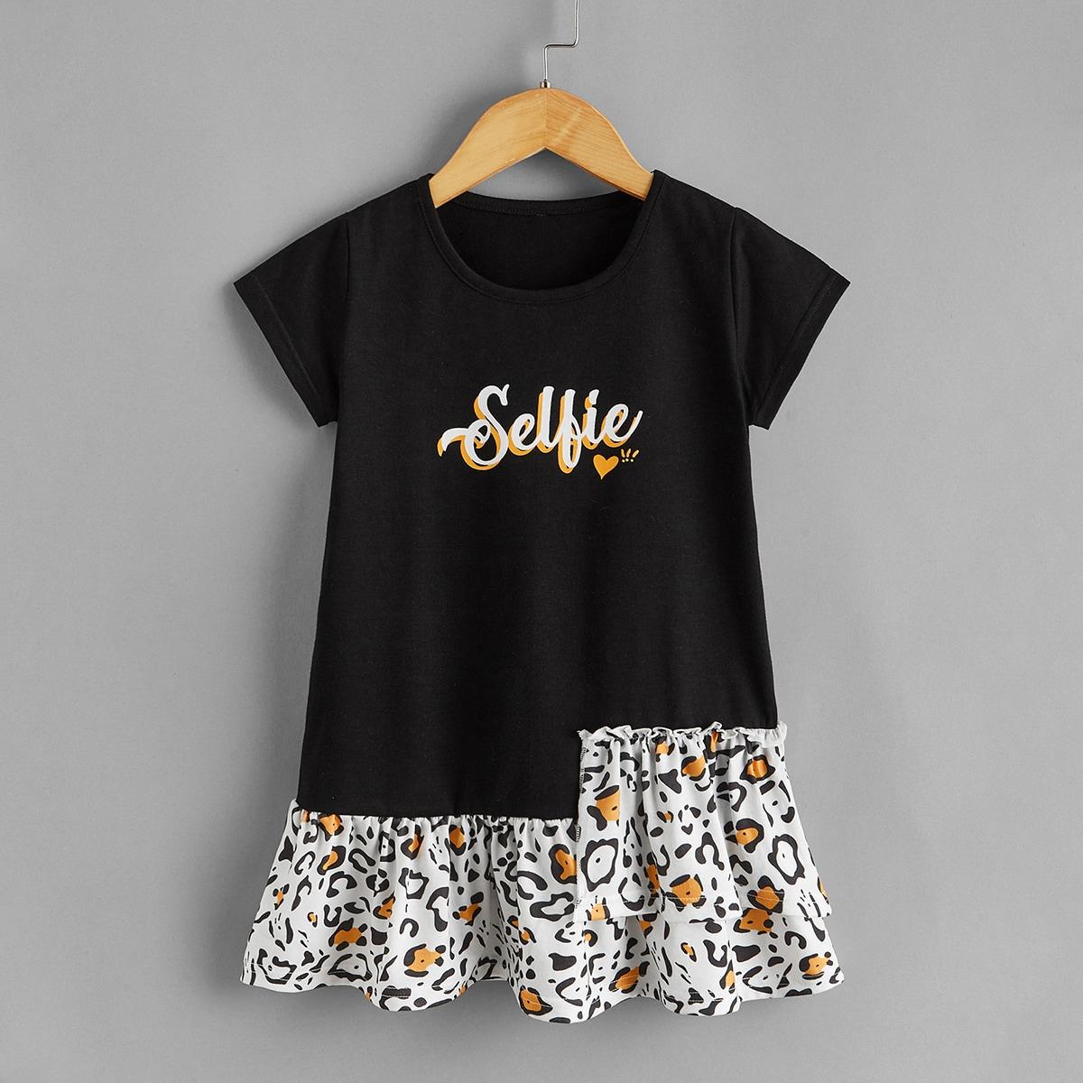 Toddler Girls Letter & Heart Print Smock Dress