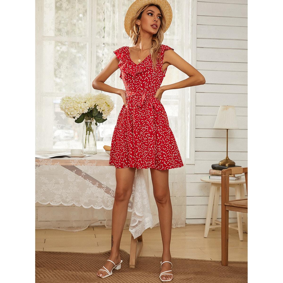 Confetti Heart Ruffle Trim Belted Swing Dress