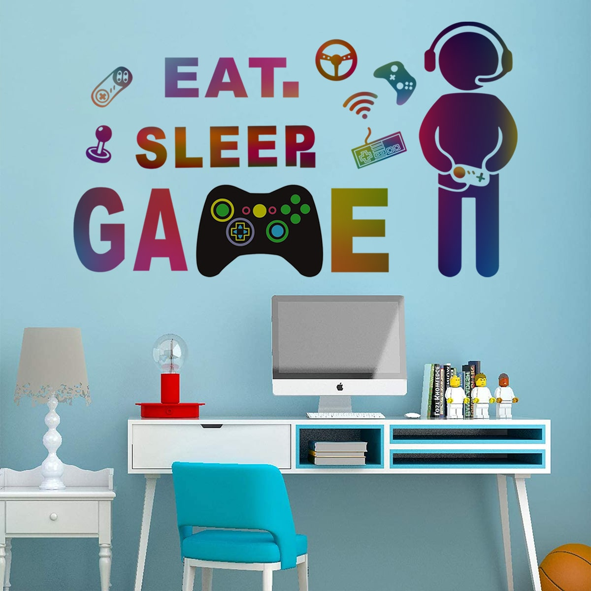 Gamepad & Letter Graphic Wall Sticker