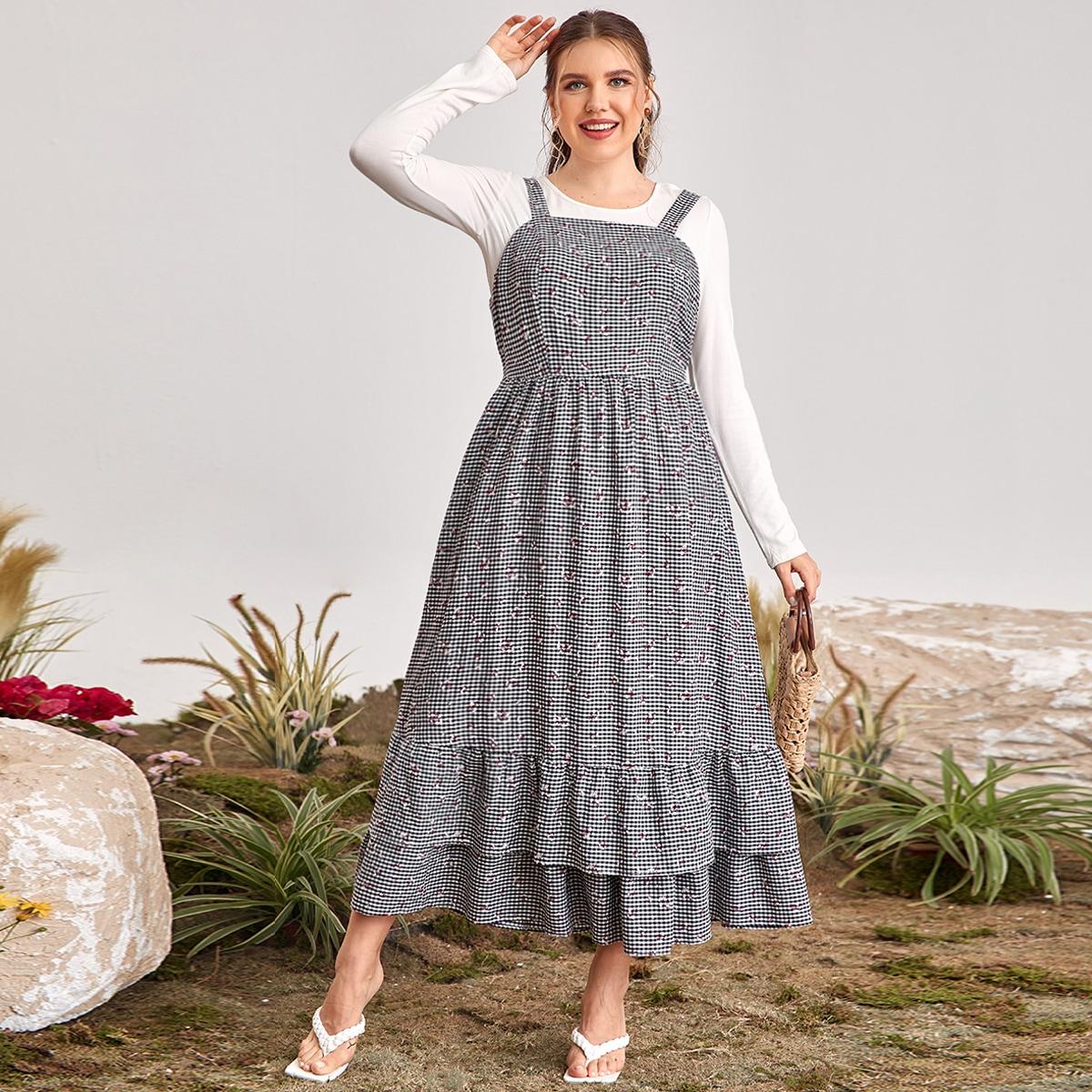 С оборками Цветочный Бохо Платья размер плюс