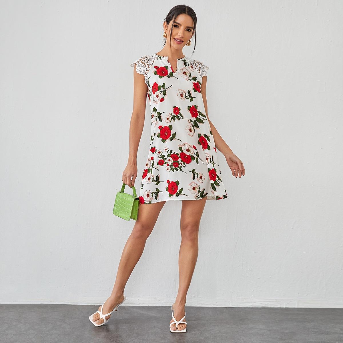 Контрастные кружева Цветочный принт Элегантный Платье