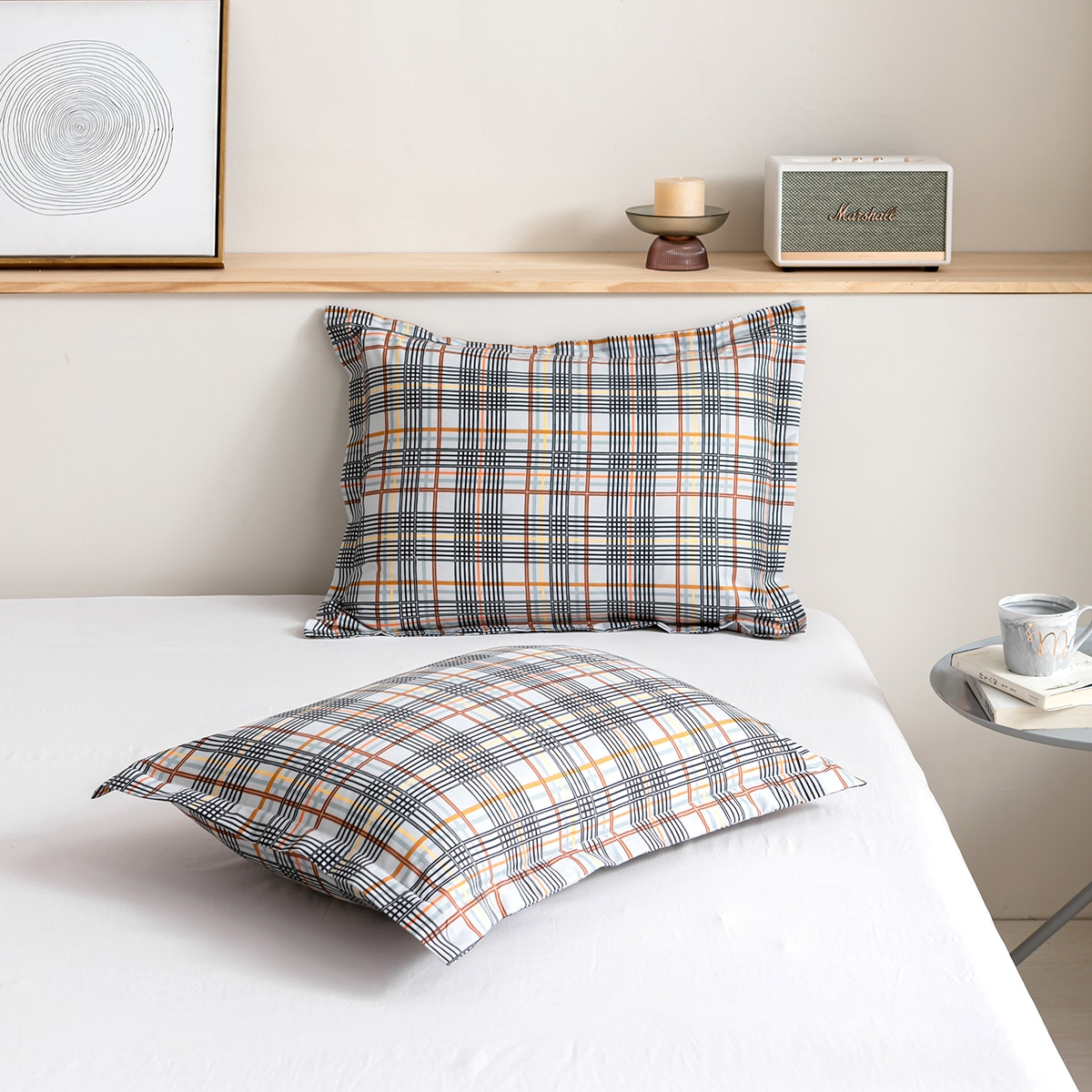 1Pair Plaid Pattern Pillowcase Without Filler