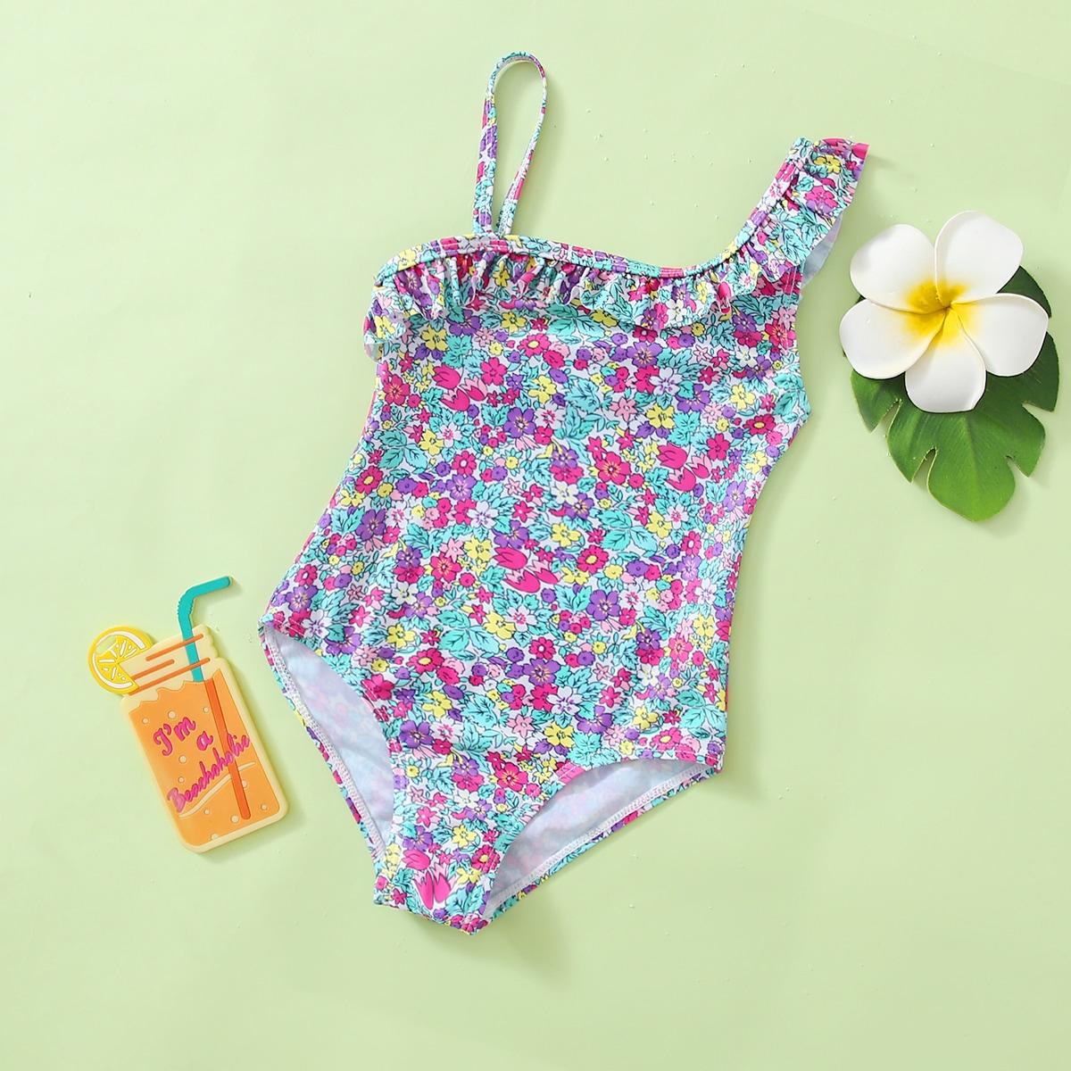 Слитный купальник с цветочным принтом для девочек