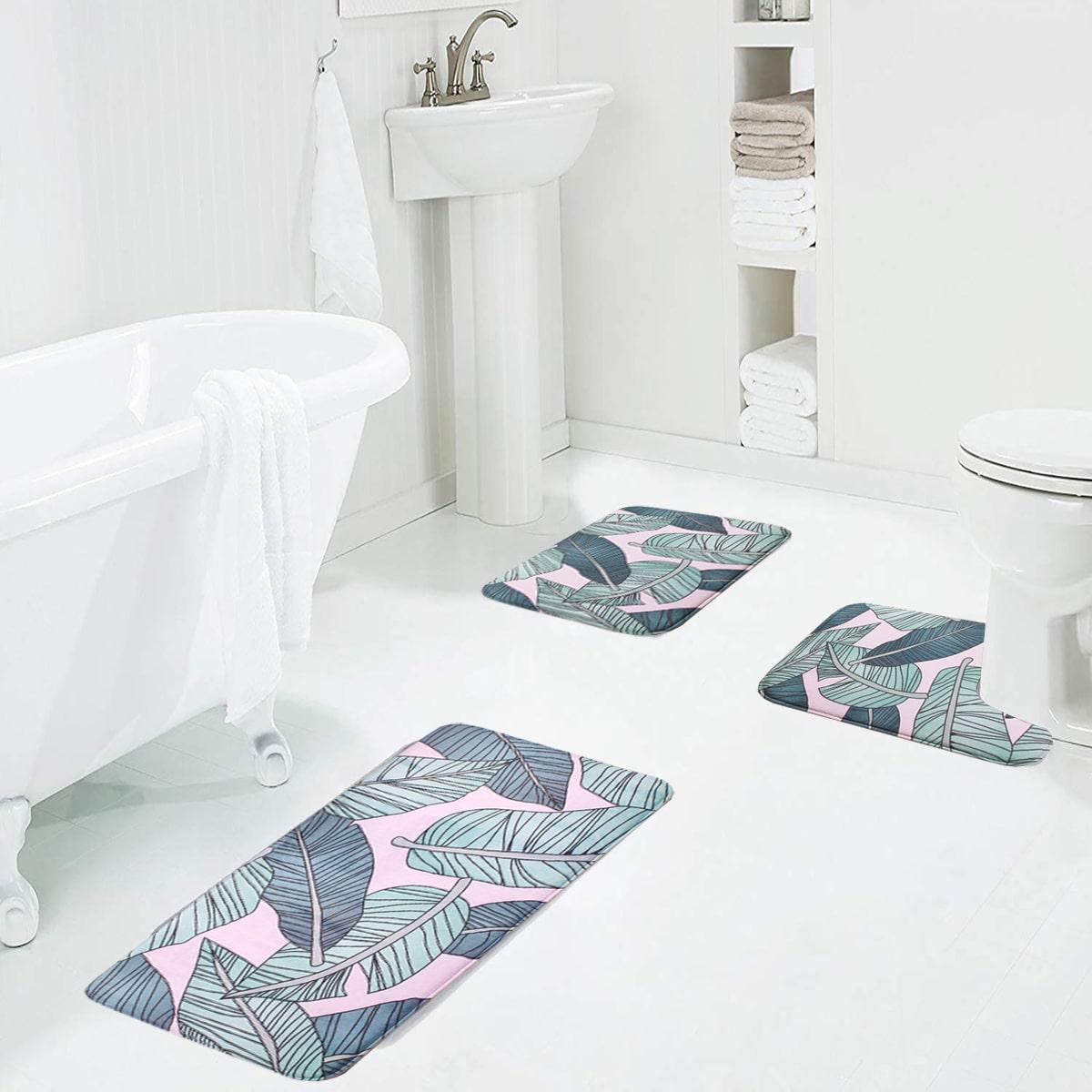 1 Stück Badezimmerteppich mit Blatt Muster