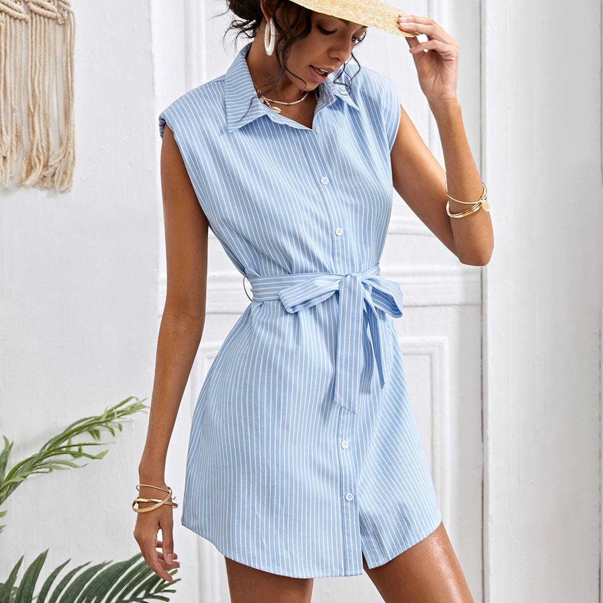 Платье-рубашка с поясом в полоску