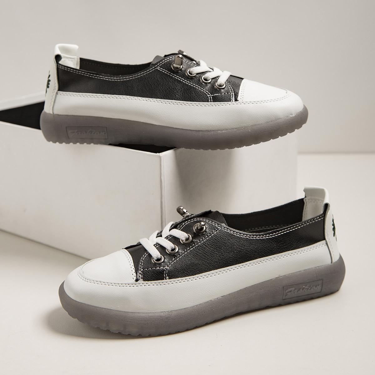 shein Kant Preppy Kleurblok Sneaker Borduurwerk