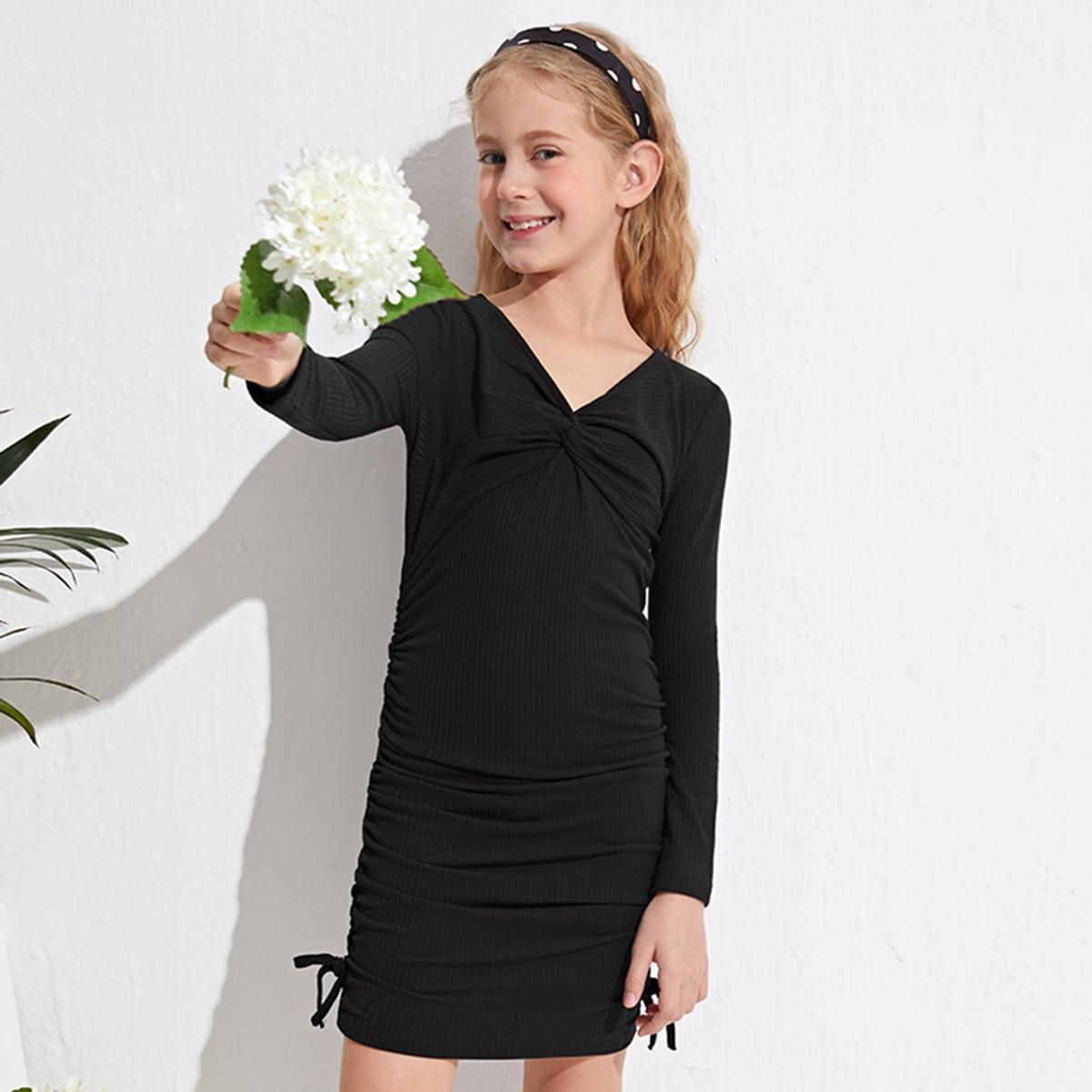 Strick Kleid mit Twist vorn, Knoten und Rüsche