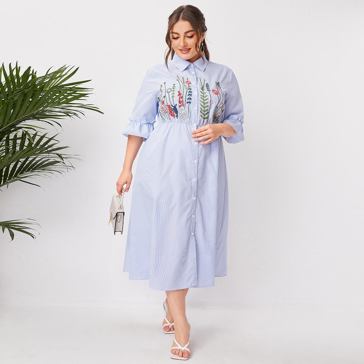 Вышивка Цветочный Повседневный Платья размер плюс