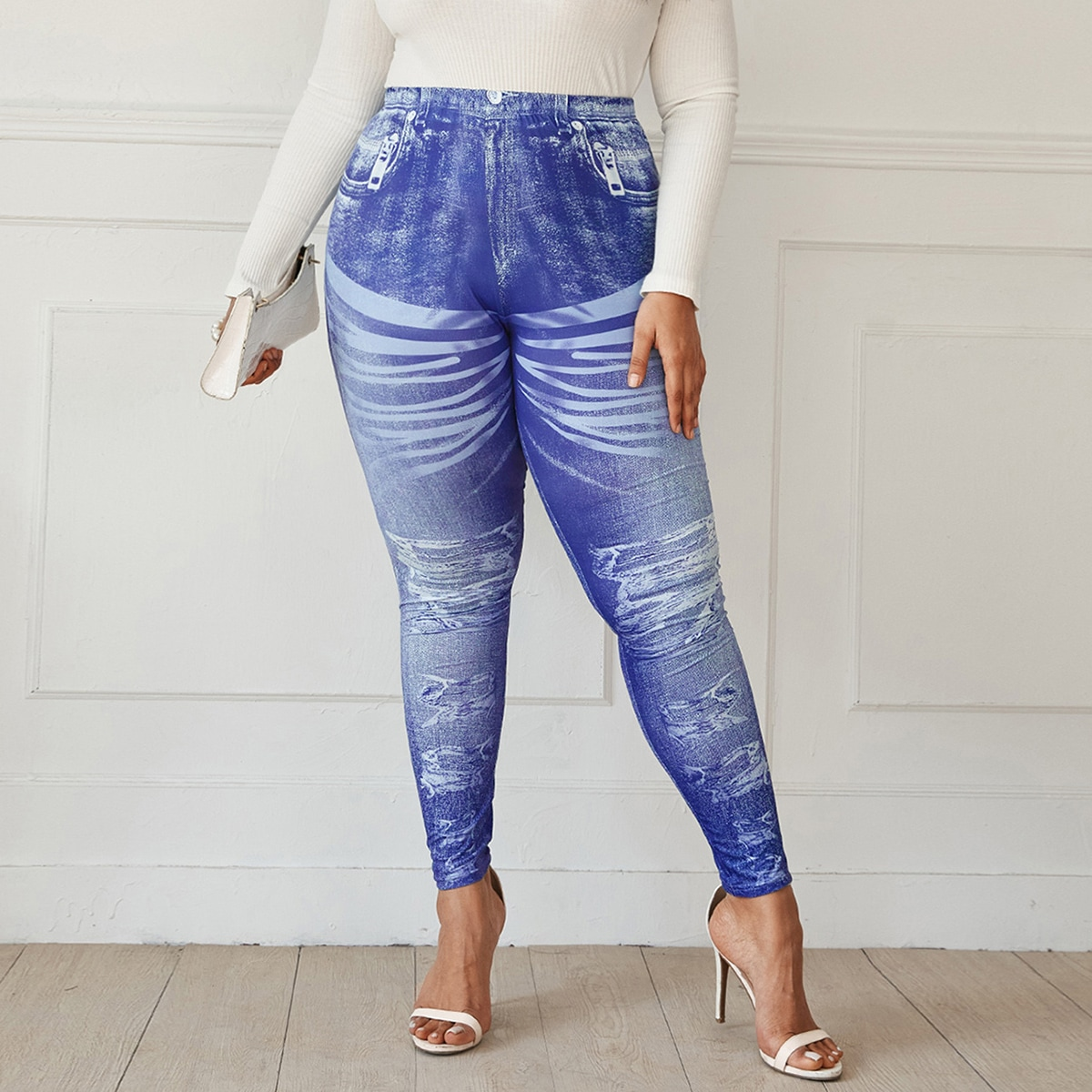 SHEIN Casual Kleurblok Grote maat: legging