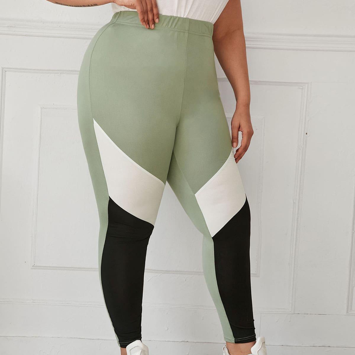 SHEIN Sport Kleurblok Grote maat: legging