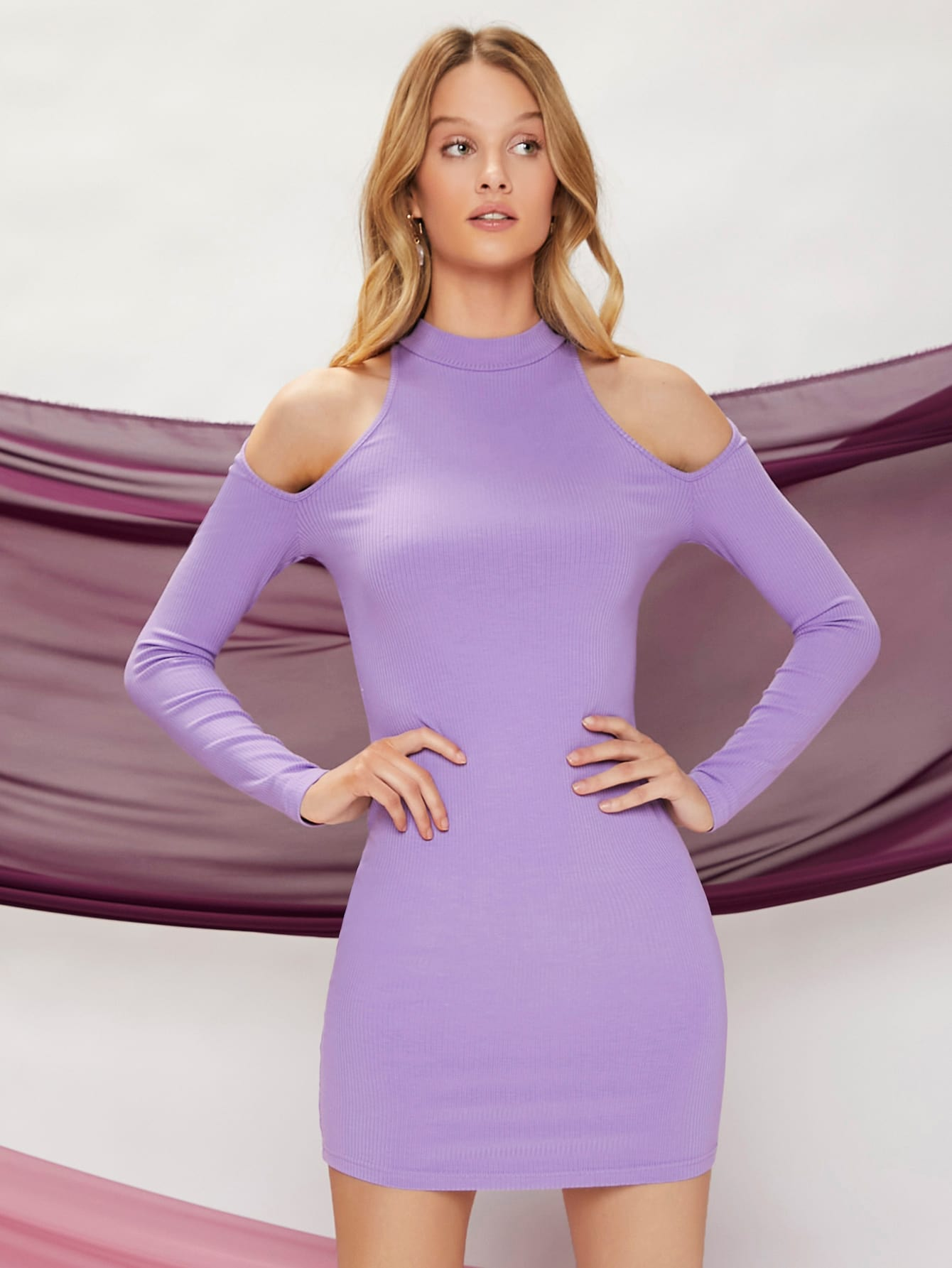 cold shoulder solid bodycon sweater dress