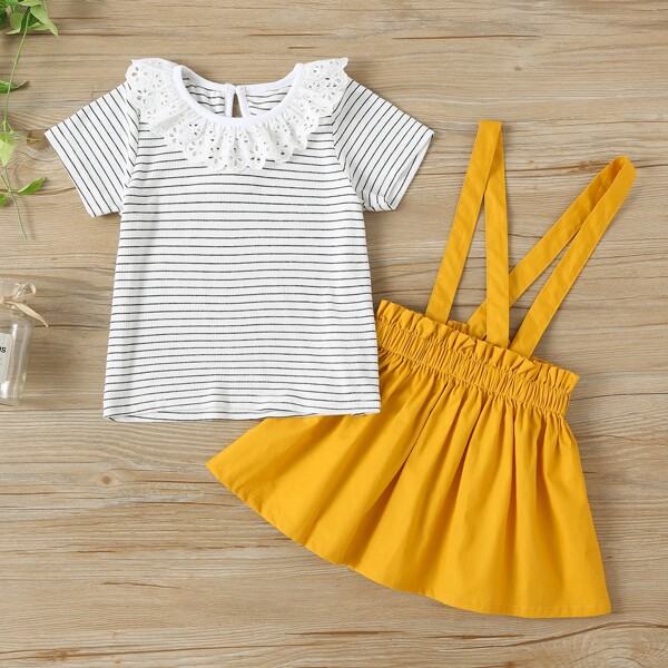 Toddler Girls Schiffy Panel Striped Tee & Pinafore Skirt, Multicolor