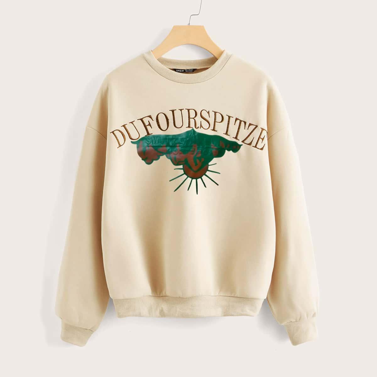 Пуловер с вышивкой и графическим принтом