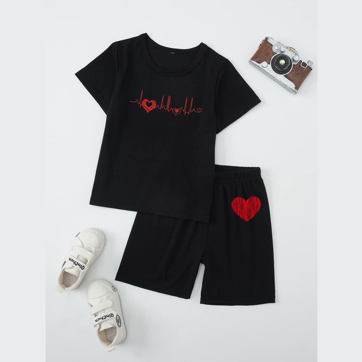 2шт пижама с принтом сердечка для мальчиков