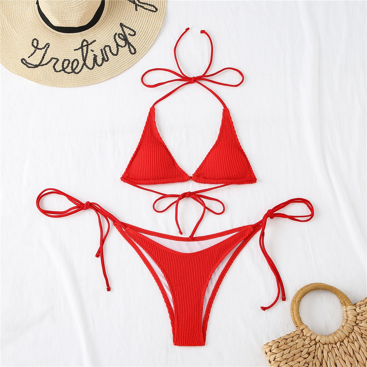 Triangle Tie Side Thong Bikini Swimsuit