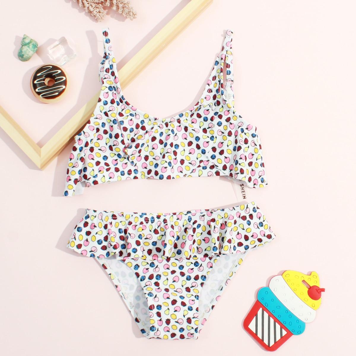 Toddler Girls Fruit Print Ruffle Bikini Swimsuit